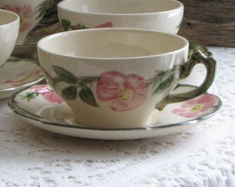 Franciscan Desert Rose Cups and Saucers Vintage Dinnerware and Replacements Set of Seven (7) Made in California 1941-1949