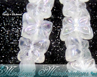 Czech Butterfly Crystal Aurora Borealis Finish 7x9mm