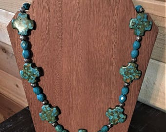 Turquoise Colored Magnesite Necklace 26 inches