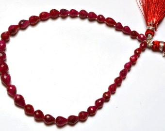 Full Stand 9 Inch Strand,Superb-Finest Quality AAA Quality Dyed Ruby Faceted TearDrop  Shape Briolettes, Drops Shape 4 TO 8 mm size
