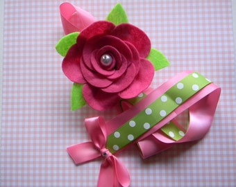 Rose hair bow holder- Hot Pink Felt Rose Hair Bow Holder-Barrette holder-Hair Clip holder