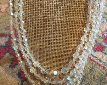 3-strand crystal bead necklace