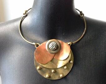 Vintage Modernist Flower Choker Collar Bib Necklace in Brass Copper & Bronze Stamped OttoKarl ...Rare Hand Made Artisan Brutalist