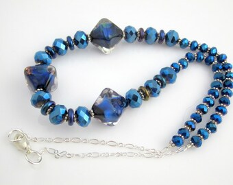 Dark Blue Beaded Lampwork Art Glass Necklace, Glass Beads Necklace, Gift, Fashion Jewelry, Mother's Day, Easter