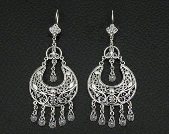 Filigree Earrings 925 Sterling Silver Greek Handmade Art Big Luxury