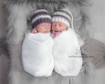 TWIN Newborn knit whimsical knotty top beanie hats 100% wool