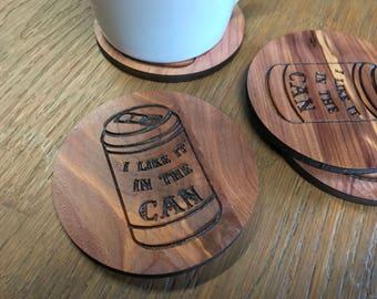 Funny Beer Coasters | Like it in the Can | Inappropriate Gifts for Him | Man Cave | Home Bar Decor | Humorous Present | Joke Father's Day