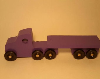 Handcrafted Play Pals Wood Toy Truck with Trailer.