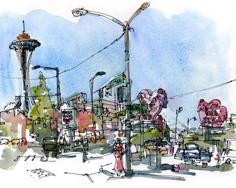 Seattle sketch, Elephant Carwash and Seattle Space Needle, Print from a watercolor sketch