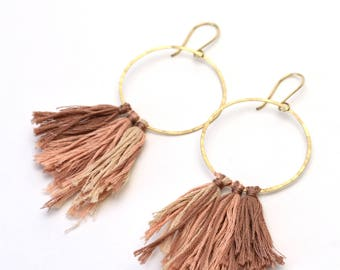 Blush pink circle tassel hoop earrings gold filled grey statement earrings denim blue rose gold filled ombre fabric hammered round hoops