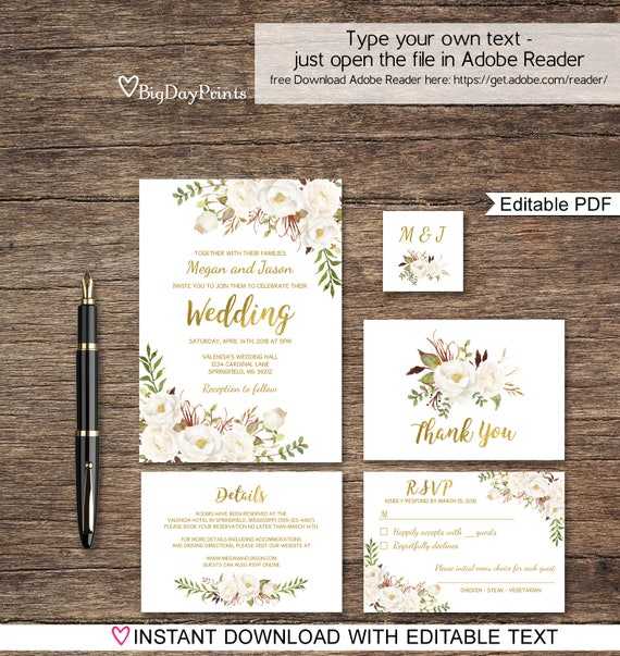 Floral Wedding Invitation Template White Boho Chic Wedding