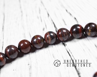 Red Tiger Iron Bracelet - Tiger Eye Matrix Bracelet, Brown Accessories, Mens Bracelet, Brown Jewelry, Tiger Iron Jewelry