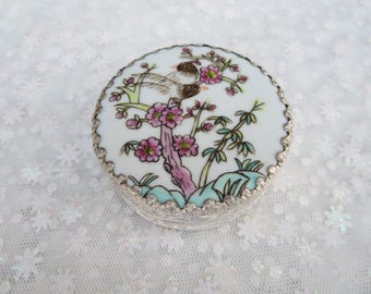 Asian Trinket Box, Vintage Silver Plated Box, Floral White and Silver Pill Box, Pink Floral Jewelry Box, Stocking Stuffers, Asian Decor
