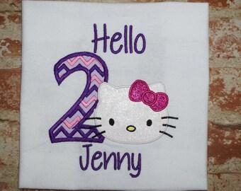 Fast Shipping!!! Hello Kitty Birthday Shirt/Hello Kitty party theme shirt/ Kitty Cat themed shirt/ Hello Kitty Shirt