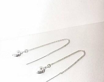 Dangle Earrings, Silver Thread Earrings, Silver Drop Earrings, Sterling Silver Heart Thread Earrings, Heart Earrings