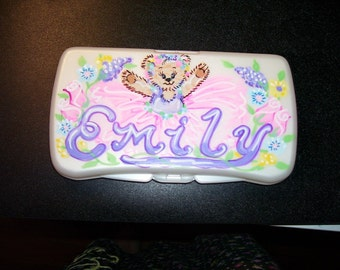 Baby Wipes Travel Case - Ballet Bear - Handpainted and Personalized