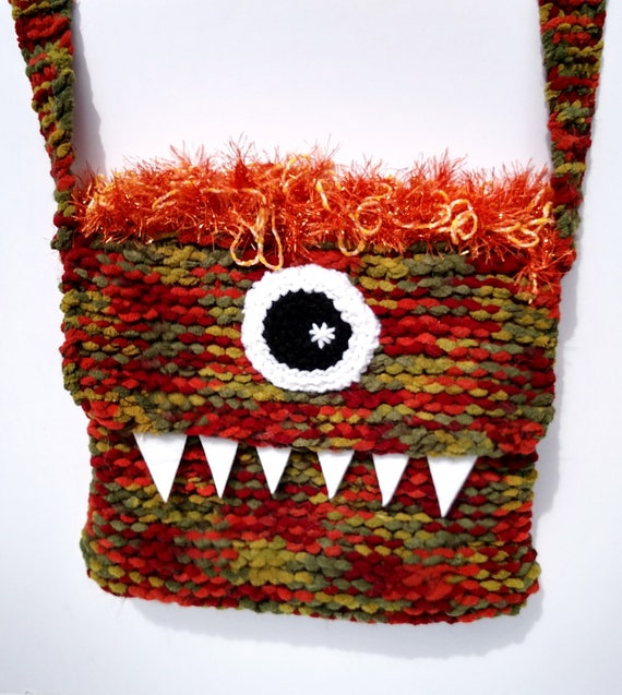 Silly Cyclops Hand Knit Bag - Red and Orange