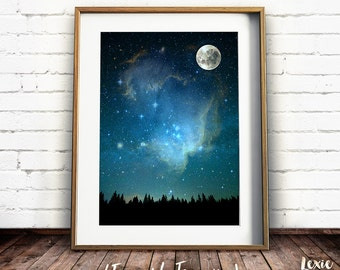 Night Sky Print, Moon and Sky, Starry Sky Poster, Night Landscape, Scenery, Printable Wall Art, Instant Download