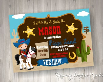Cowboy, Horse, Western Saddle Up Birthday Boy Invitation, 5x7, 4x6 Personalized Cowboy, Country Invitation
