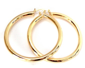 3 inch Hoop Earrings Thick Round Gold Plated Hoop Earrings Tube Hoop Earrings Solid Hoops