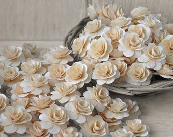 Wooden Flowers 150  Pcs Natural Birch Wood Roses for Weddings, Home Decorations, Scrapbooking and Floral Arrangements