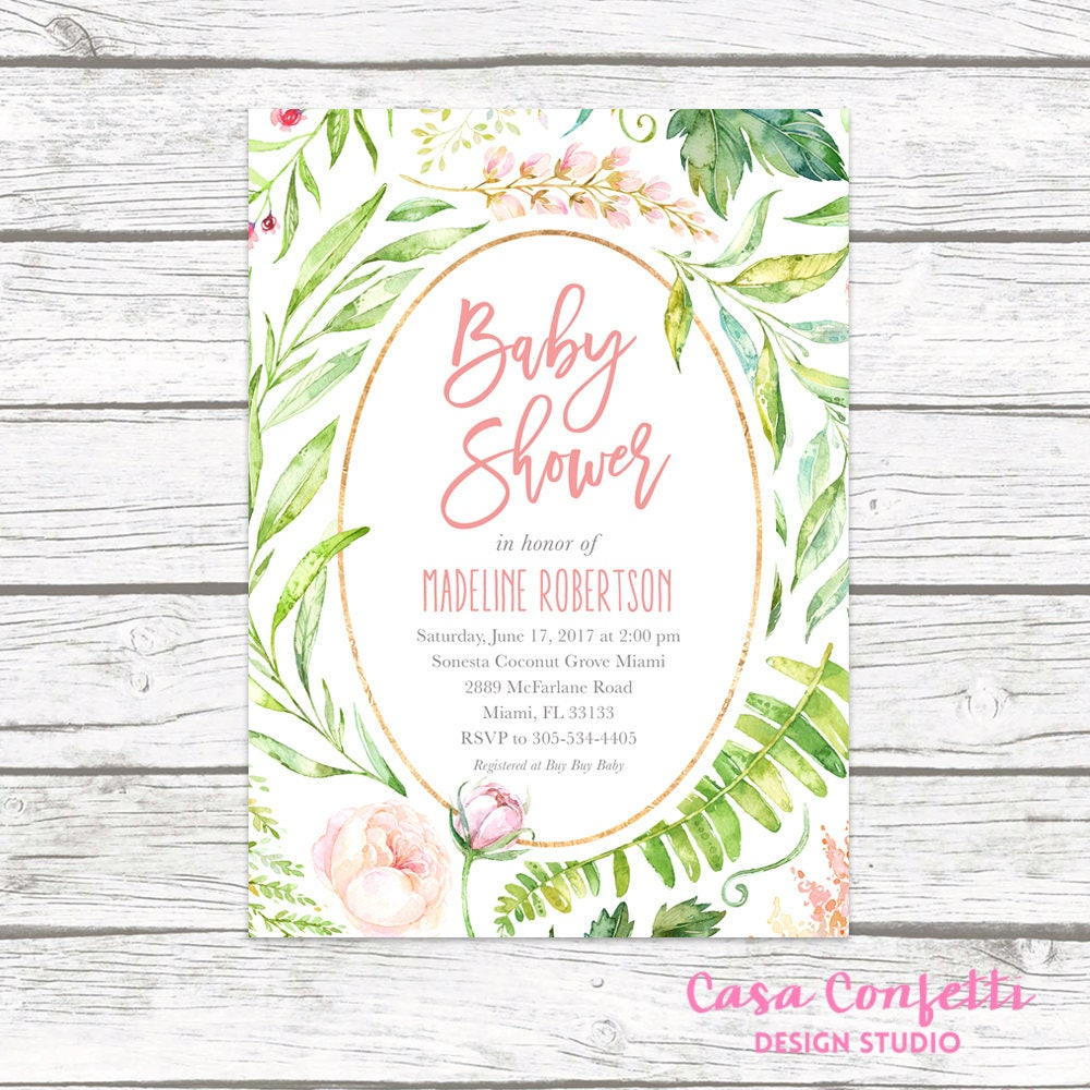 Baby shower invitation pink floral baby shower invitation garden baby shower invitation pink floral baby shower invitation garden baby shower invite rustic baby shower leaf baby shower invitation filmwisefo Images