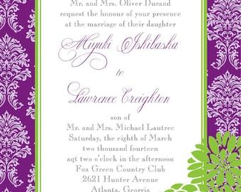Damask Wedding Invitation Set - Purple and Green