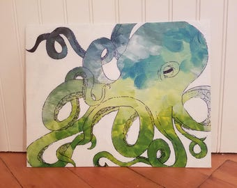 Blue & Green Octopus 11x14