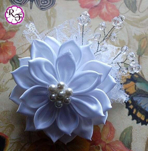 Bridal Hair Flower White Wedding Clip Kanzashi Fascinator