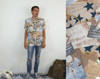 80's vintage men's blue-brown sailor patterned shirt