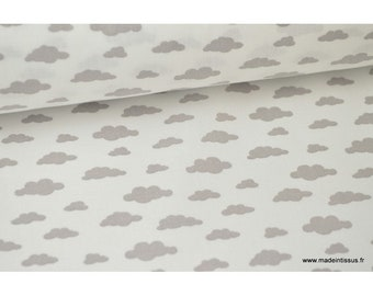 Fabric 100% cotton gray clouds on white drawing