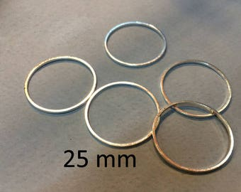 20 spacer rings 25mm silver for jewelry making