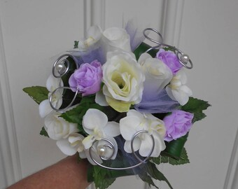 Maid of honor - purple and ivory bouquet