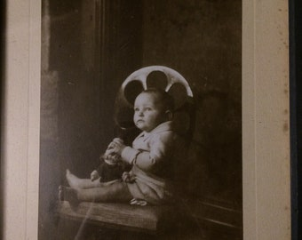 Antique photo of a Baby in Original Frame