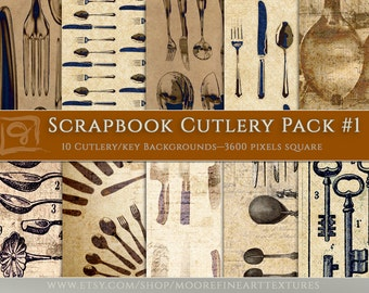 """DIGITAL SCRAPBOOKING PAPER — Ten Cutlery Themed 12""""x12"""" Pages With Elegant Vintage Textured Backgrounds"""