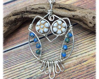 I Love Owls Silver Wire Wrapped Necklace with Genuine Czech Glass, Customized Lengths, Free USA Shipping, Handmade in the USA