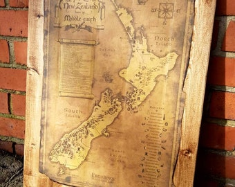 New zeland and Home of Middle Earth Map on reclaimed wood