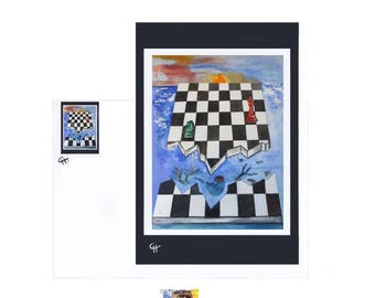 """Chess"" Art card from my original painting greeting card, birthday card"