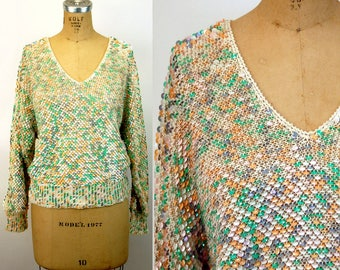 1980s sequin top sweater pastel fish scale sequins batwing sleeves by Nannell