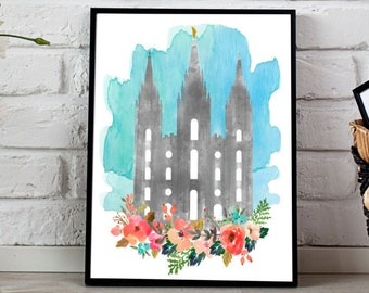 Salt Lake City watercolor temple, LDS temple print, Watercolor temple, Mormon temple printable, SLC temple print, 8x10 & 11x14, LDS print