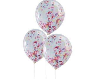 5 Confetti Balloons | 12 Inches | Rainbow | Confetti Balloons | Rainbow Party Decorations | Multi-Colour Confetti Balloons | Balloons