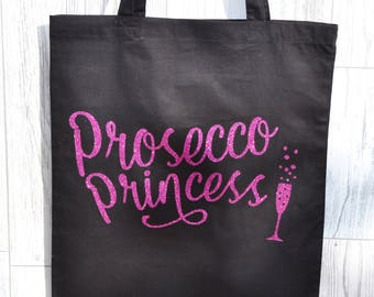 Prosecco Gift, Tote Bag, Shopping Bag, Reusable Bag, Black Cotton Tote, Prosecco Princess, Small Gift, Small Gift Idea, Gifts for Her