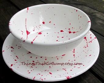 Blood splatter bowl and plate set kiln fired custom pottery dinnerware made to order red white black splattered horror fan crime scene