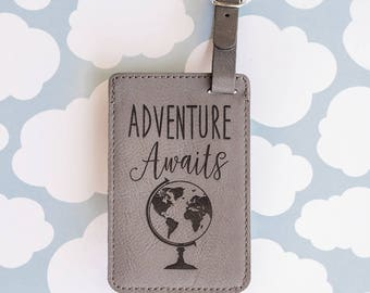 Adventure Awaits Luggage Tag, Cute Travel Gifts, Travel Accessories, Globe Map Tag, Suitcase Tag, Bag Tag, Gray, Adventure Travel Quote LT16