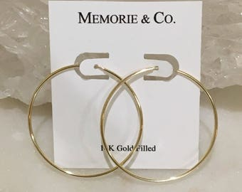 45mm 14k Gold Filled Hoops | Gold Hoops | Classic Jewelry
