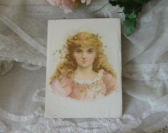 Vintage antique Magical collection with romantic girl motif shabby ephemera