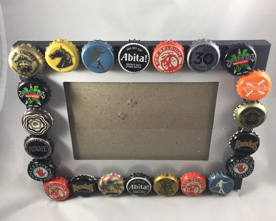Craft Beer Bottle cap frame, craft beer frame, beer picture frame ...