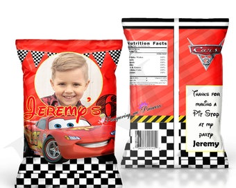 12 Cars Chip Bags, Custom Party Favors, Cars Treat Bags, Party Goody Bags, Cars 3 Birthday Treat Bag