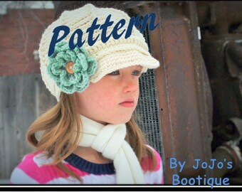 NEW!  Newsboy Hat Pattern - Crochet Newsboy Hat Pattern with BONUS Button Flower - 4 Sizes included - Newsboy Pattern - by JoJo's Bootique