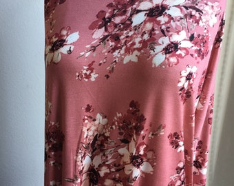 Kelsey. Dusty Mauve Pink Monochromatic Floral Rayon Knit Fabric. Limited Quantity!
